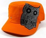 Bling Cowgirl Owl Fashion Cadet Caps Wholesale - Orange