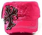 Bling Cross Vintage Cadet Caps Wholesale - Pink