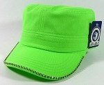 Blank Rhinestone Cadet Hats Wholesale - Lime Green