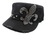 Bling Fleur de Lis Cadet Hats Wholesale - Charcoal Grey