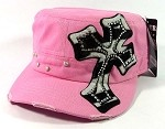Bling Cross Zebra Rhinestone Cadet Hats Wholesale - Pink