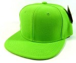 Junior / Kids Blank Snapback Hats Wholesale - Lime Green