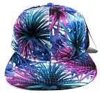 Wholesale Blank Floral Snapback Hats - Spiky Blue 3