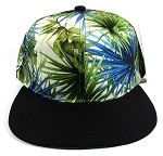 Wholesale Blank Floral Snapback Hats - Spiky Green Black 1