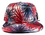 Wholesale Blank Floral Snapback Hats - Spiky Red 3