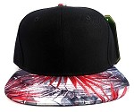 Wholesale Blank Floral Snapback Hats - Spiky Black Red 2
