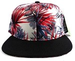 Wholesale Blank Floral Snapback Hats - Spiky Red Black 1