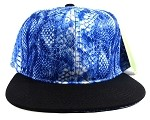 Wholesale Blank Snakeskin Snapback Hats - Snake Black Blue 1