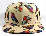 Wholesale Graphic Arts Snapback Hats - Birds | Khaki 1