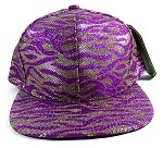 Wholesale Blank Tigerstripe Snapback Hats - Purple