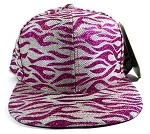 Wholesale Blank Tigerstripe Snapback Hats - Hot Pink & Silver