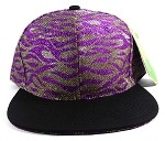 Wholesale Blank Tigerstripe Snapback Caps - Purple | Black