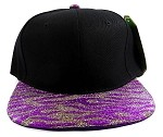 Wholesale Blank Tigerstripe Snapback Caps - Black | Purple