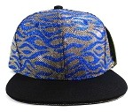 Wholesale Blank Tigerstripe Snapback Caps - Blue | Black