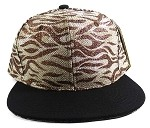 Wholesale Blank Tigerstripe Snapback Caps - Brown | Black
