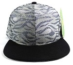Wholesale Blank Tigerstripe Snapback Caps - Silver | Black