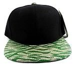 Wholesale Blank Tigerstripe Snapback Caps - Black | Green