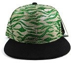 Wholesale Blank Tigerstripe Snapback Caps - Green | Black