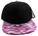 Wholesale Blank Tigerstripe Snapback Caps - Black | Hot pink