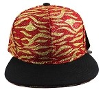 Wholesale Blank Tigerstripe Snapback Caps - Red | Black