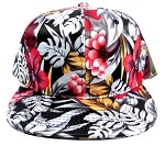 Wholesale Blank Floral Snapback Hats - Cherry 1