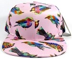 Wholesale Women's Snapback Caps - Birds | Pink 1