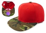 Junior / Kids Blank Snapback Hats Wholesale - Red Camo