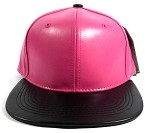 Faux Leather Blank Snapback Hats Wholesale - Hot Pink | Black