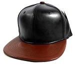 Faux Leather Blank Snapback Hats Wholesale - Black | Burgundy