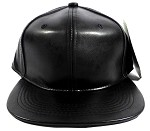 Blank Black Faux Leather Snapbacks Wholesale - Black
