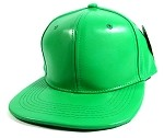 Blank Faux Leather Snapback Hats Wholesale - Green