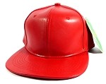 Blank Faux Leather Snapback Hats Wholesale - Red