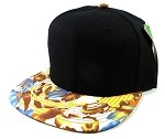 Blank Floral Snapback Hats Caps Wholesale - Black | Autumn Leaves Brown