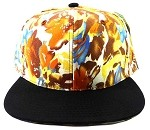 Blank Floral Snapback Hats Caps Wholesale - Autumn Leaves Brown | Black Brim