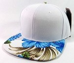 Blank Hawaiian Floral Snapback Hats Wholesale - White | Blue