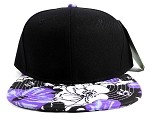 Wholesale Blank Hawaiian Floral Snapback Caps - Purple Hibiscus (ONLY 1 LEFT IN THE STOCK)