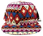 Wholesale Blank Aztec Snapback Hats - Red Pattern