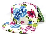 Wholesale Blank Floral Snapback Hats Caps - White Flowers
