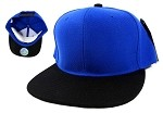 Blank Snapback Hats Caps Wholesale - Blue | Black