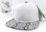 Animal Print Snakeskin Snapback Hats Wholesale - White