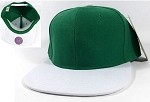 Blank Snapback Hats Caps Wholesale - Green | White