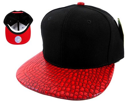 Plain Alligator Snapback Hats Caps Wholesale - Black | Red