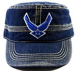 Wholesale US Military Air Force Cadet Hats - Vintage Blue Jeans