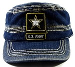 Wholesale US Military Army Cadet Hats - Vintage Jean Blue