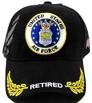 Wholesale US Military Air Force Caps - RETIRED Hats - Black