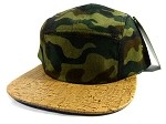 Wholesale Blank Wooden Cork 5-Panel Hats Caps - Camouflage | Natural