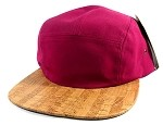 Wholesale Blank Wooden Cork 5-Panel Hats Caps - Burgundy | Lining