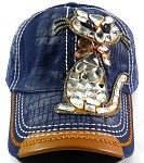 Bling Baseball Caps Wholesale Denim - Kitty Cat Navy
