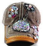 Wholesale Denim Rhinestone Baseball Caps - Kitty Cat Brown