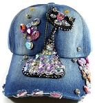 Wholesale Denim Rhinestone Baseball Caps - Kitty Cat Blue